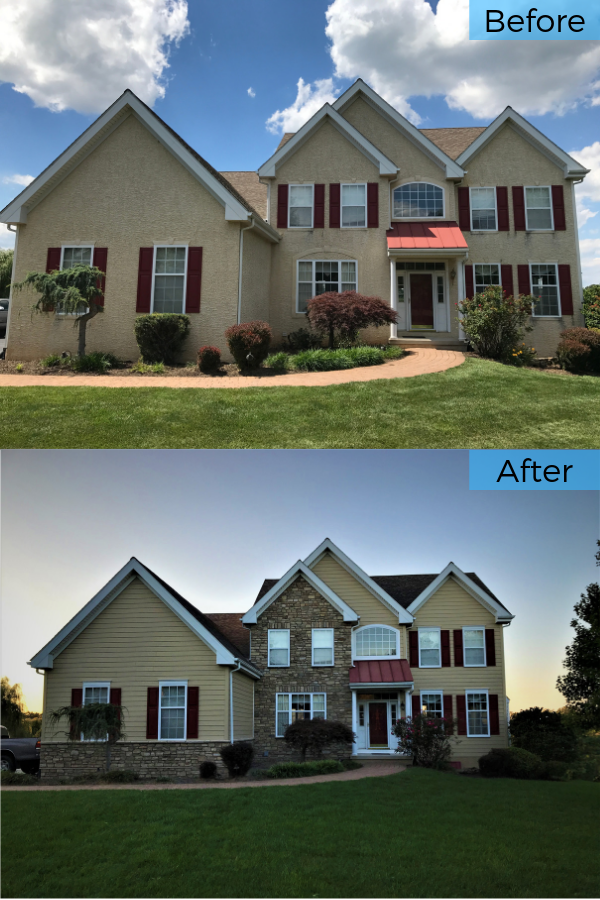 This Stucco Replacement In Lincoln University Pa Featured A Stunning Mix Of Stone And Fiber Installing Siding Fiber Cement Siding Installation House Exterior
