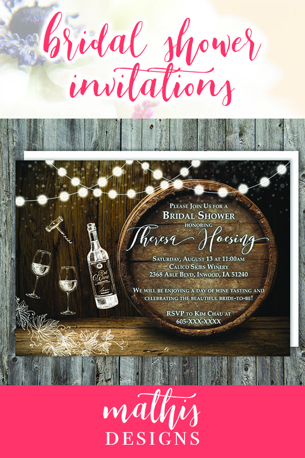 Printable Wine Tasting Bridal Shower Invitations Rustic