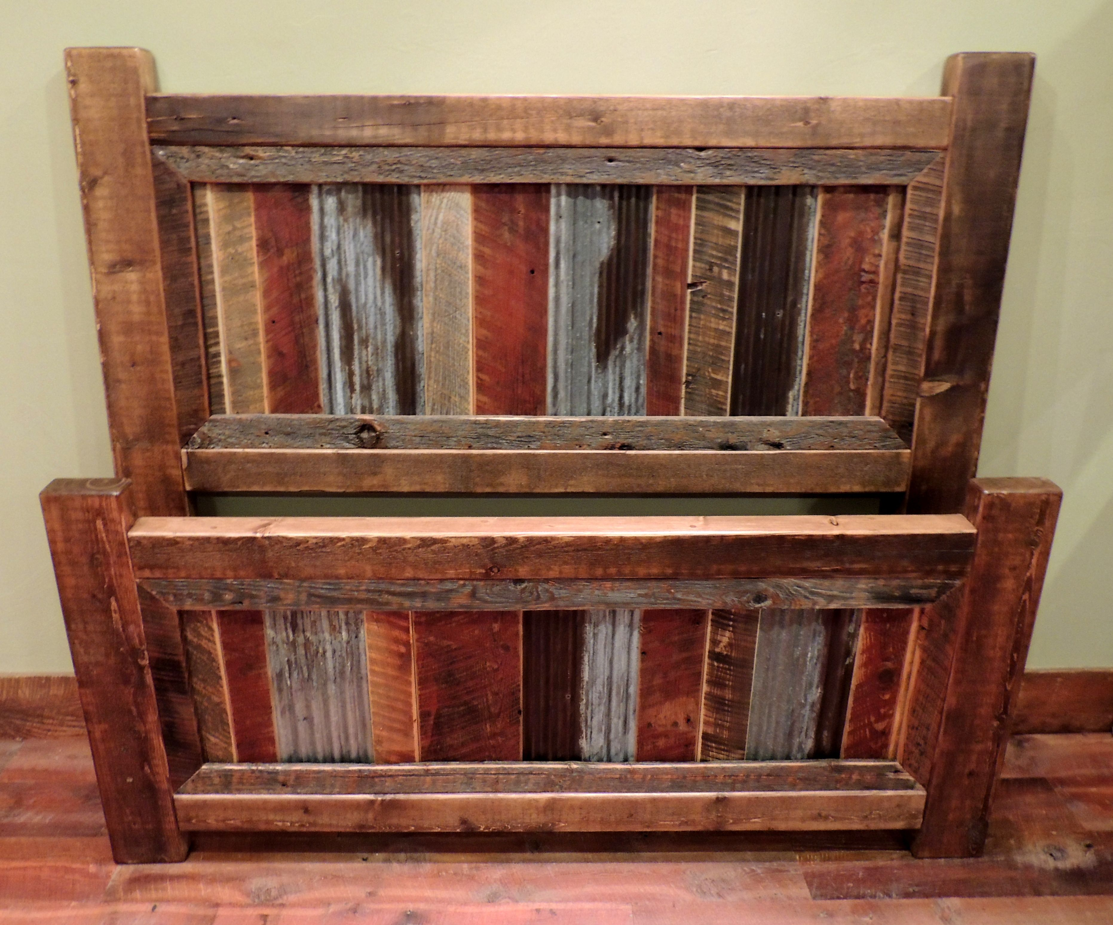 Reclaimed Metal And Wood Post Bed Beds Rustic Bedding