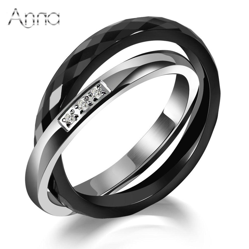 & N 세라믹 반지 블랙 & 실버 지르콘 크로스 반지 기념일 선물 독특한 디자인 패션 스테인레스 스틸 반지 도매