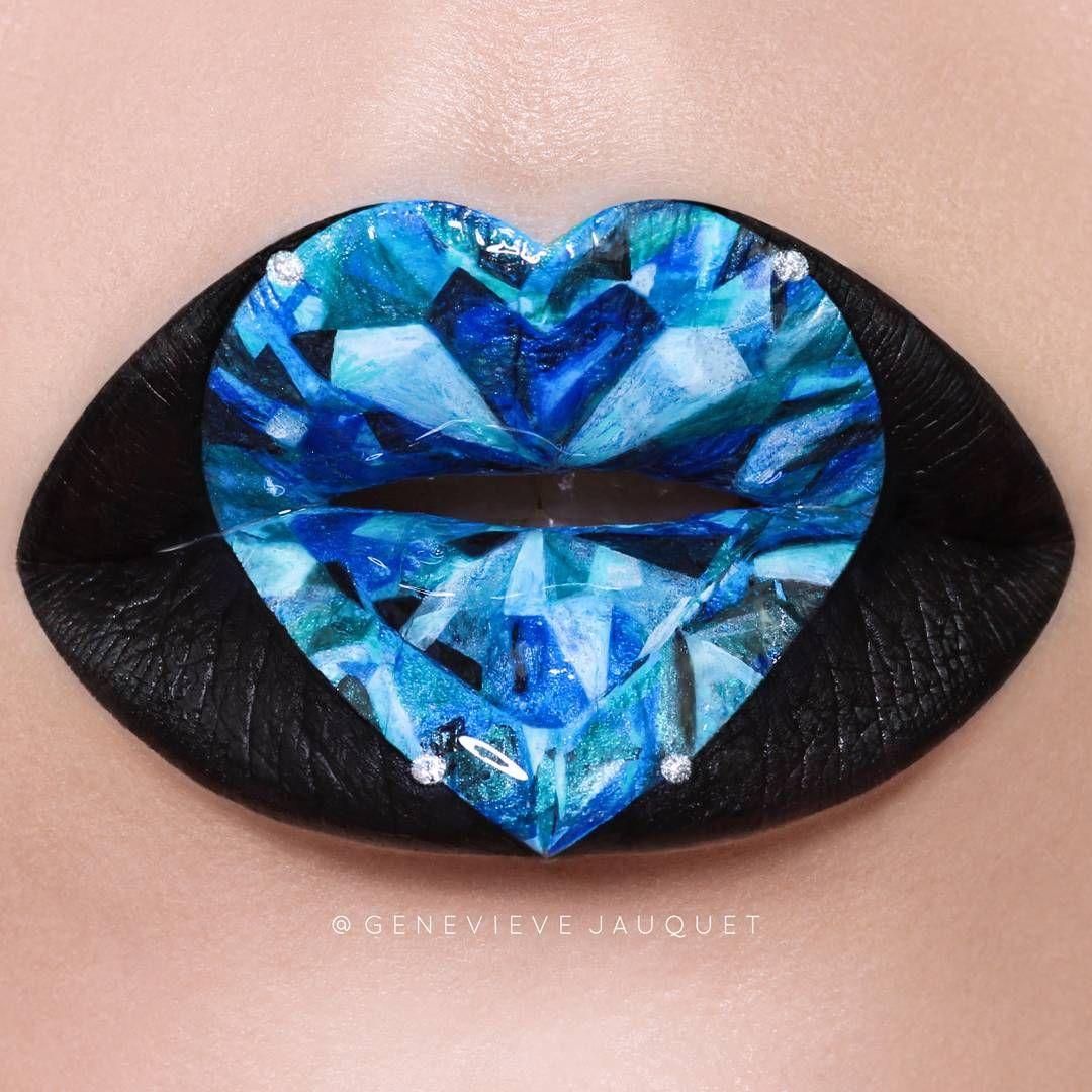Sapphire Heart Gem Stone Lips Lip Art Genevievejauquet