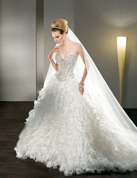 Jeweled, Strapless with a sweetheart neckline, Lace-up back and Multi-ruffled pleated tulle Skirt