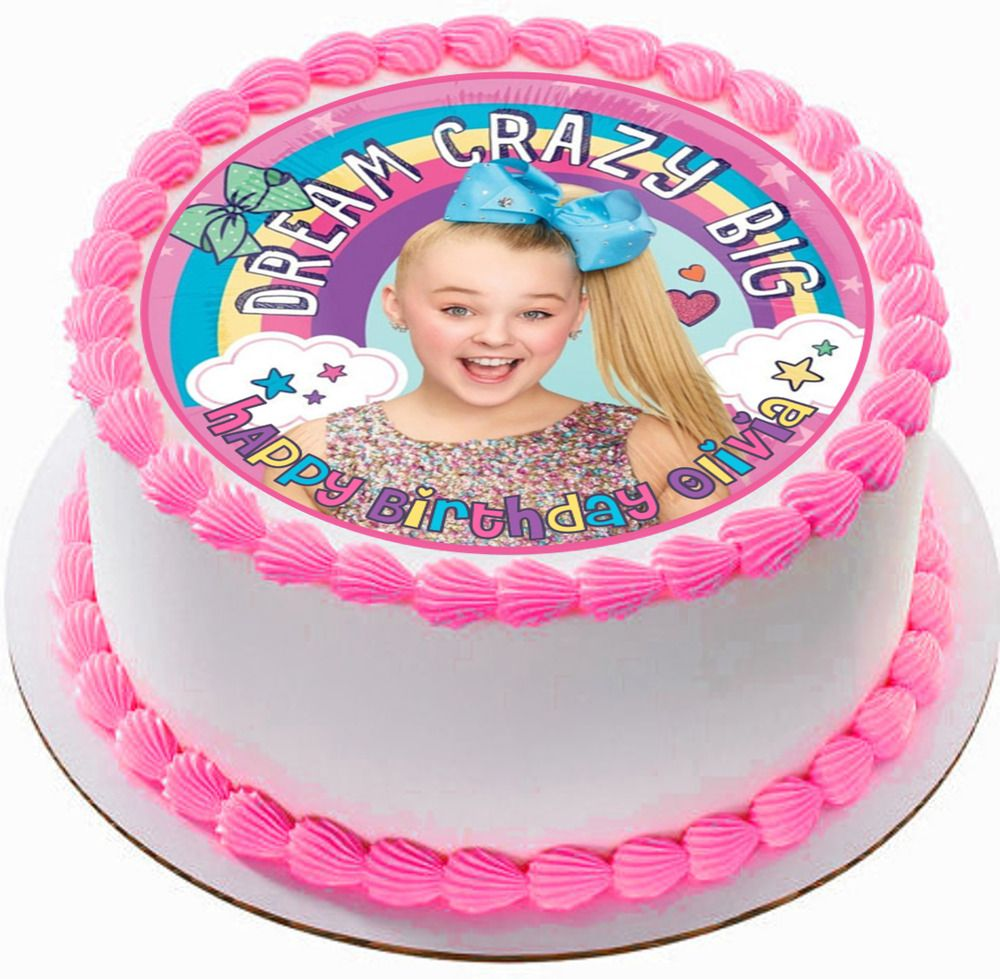 Jojo Siwa Edible Wafer Circle Cake Topper Birthday Party Image