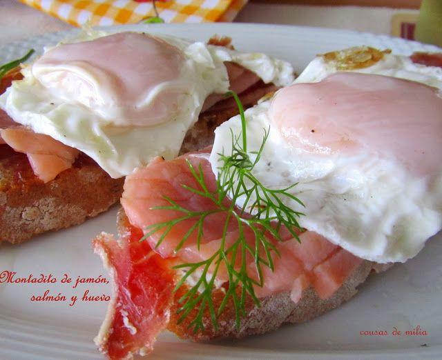 cousas de milia: Montadito de jamón, salmón y huevos  #festadosalmó...