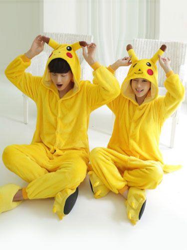 42c57bc606 Kigurumi Pajamas Pikachu Onesie Flannel Yellow Animal Sleepwear Couple  Costume  couple  costume  pajamas  kigurumi