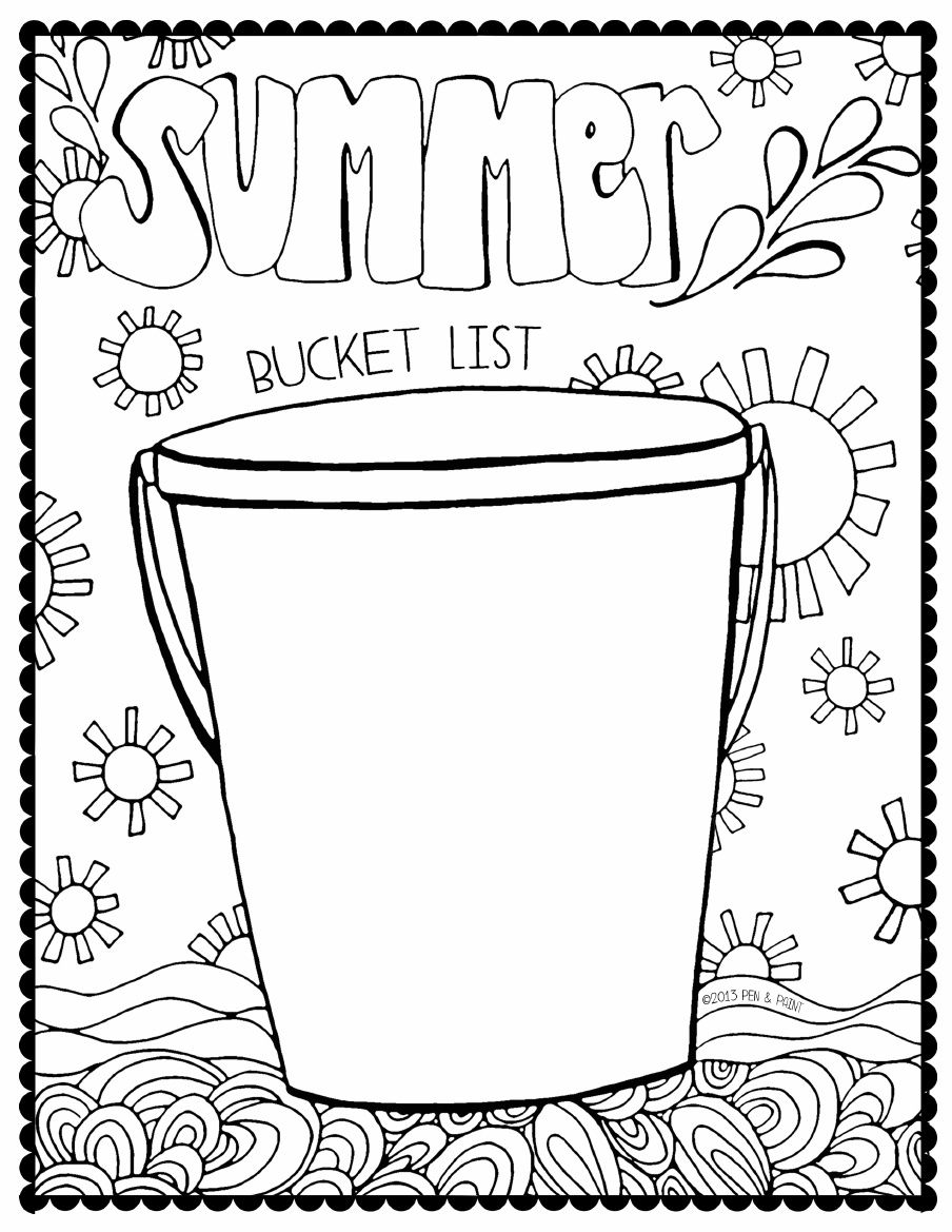 Summer Bucket List Coloring Page Scribd Summer Coloring Pages