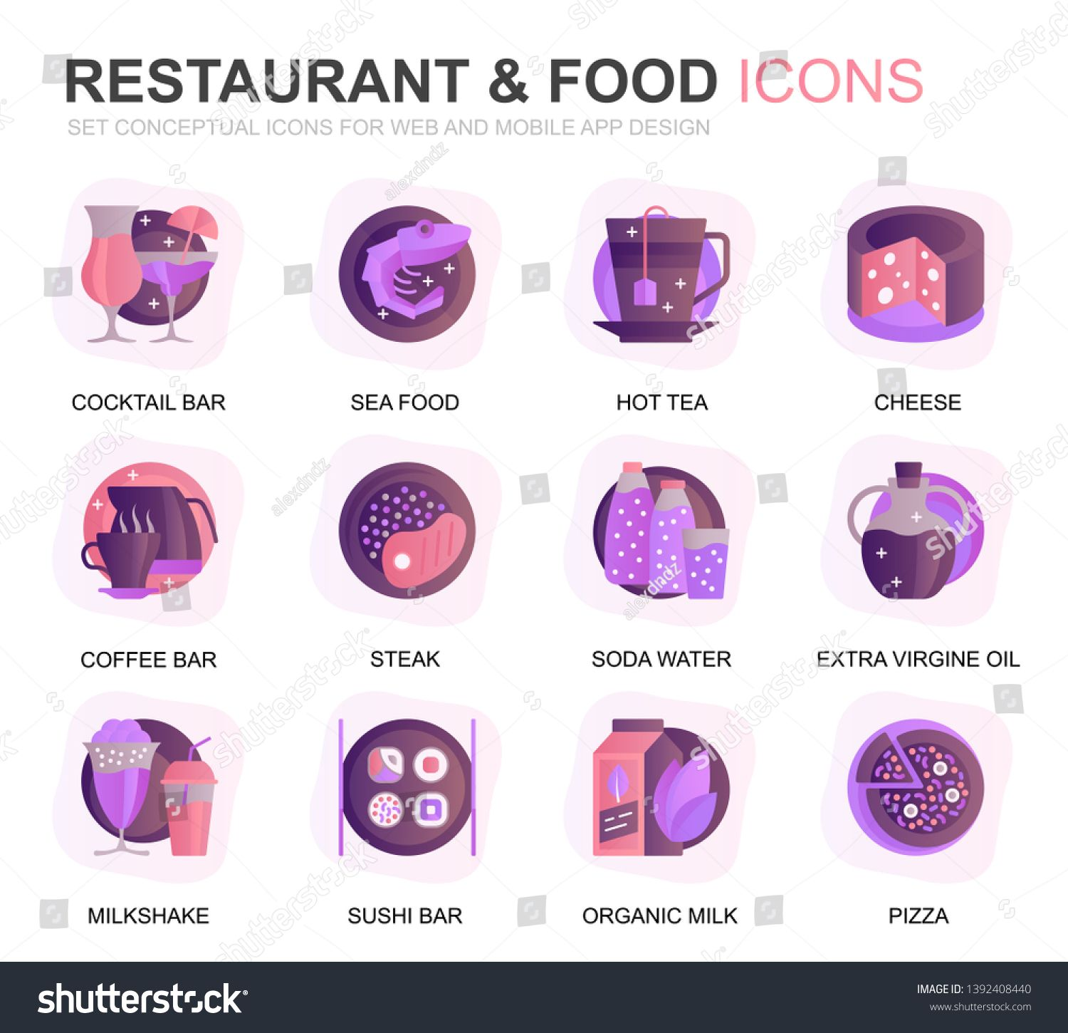 Modern Set Restaurant and Food Gradient Flat Icons for Website and Mobile Apps. Contains such Icons as Fast Food, Menu, Organic Fruit, Coffee Bar. Conceptual color flat icon. Vector pictogram pack. ,