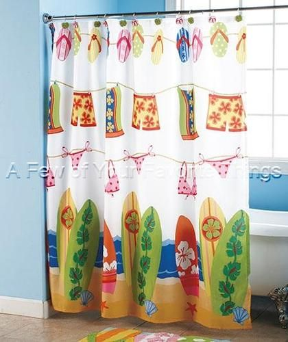 Sandal Flip Flop Shower Curtain Bathroom Bath Beach Hawaiian Surf Board  Decor
