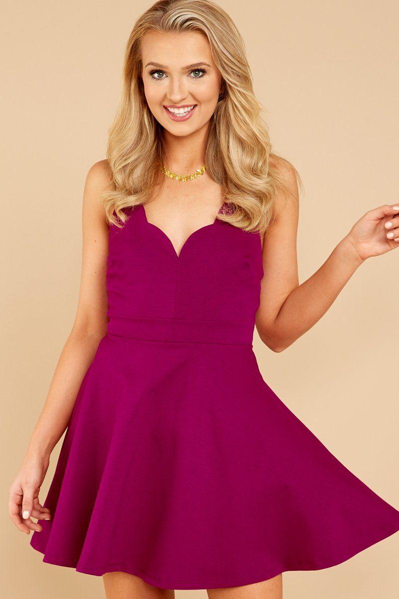 4c4fb0270d Trendy Magenta Dress - Cute Skater Dress - Short Dress -  39.00 – Red Dress  Boutique