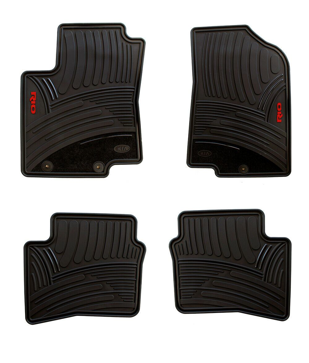 Details About Floor Mats For Cars Set Of All Weather Oem Kia Rio 2012 2017 Red Letters In 2020 Floor Mats Rubber Floor Mats Car Floor Mats