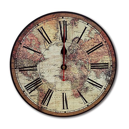 Icasso world map vintage french country tuscan style non https icasso world map vintage french country tuscan style non ticking silent wood wall clock inch world map see this great product gumiabroncs Choice Image