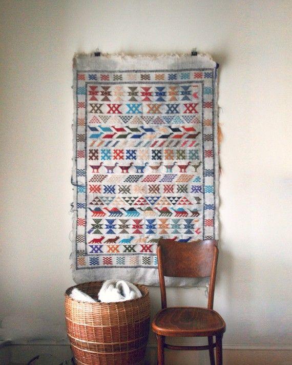 Vintage Ethnic Woven Wall Hanging Rug