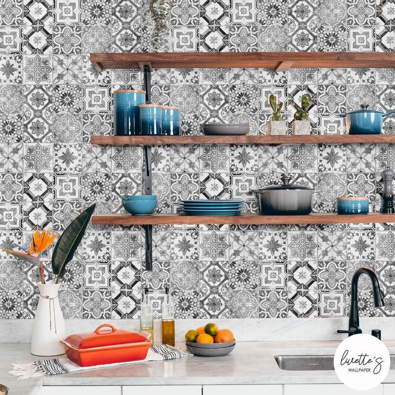 Monochrome Spanish Tiles Removable Wallpaper Bathroom Tile Etsy Removable Wallpaper Bathroom Removable Wallpaper Backsplash Remodel