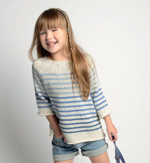 Modle Pull Ray Paillettes Fille Modles Enfant Phildar Knit