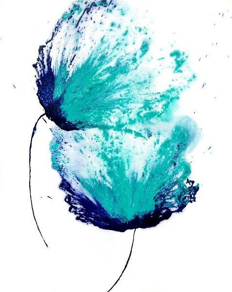 Floral Painting Flower Abstract Wall Art Blue Decor Teal ...