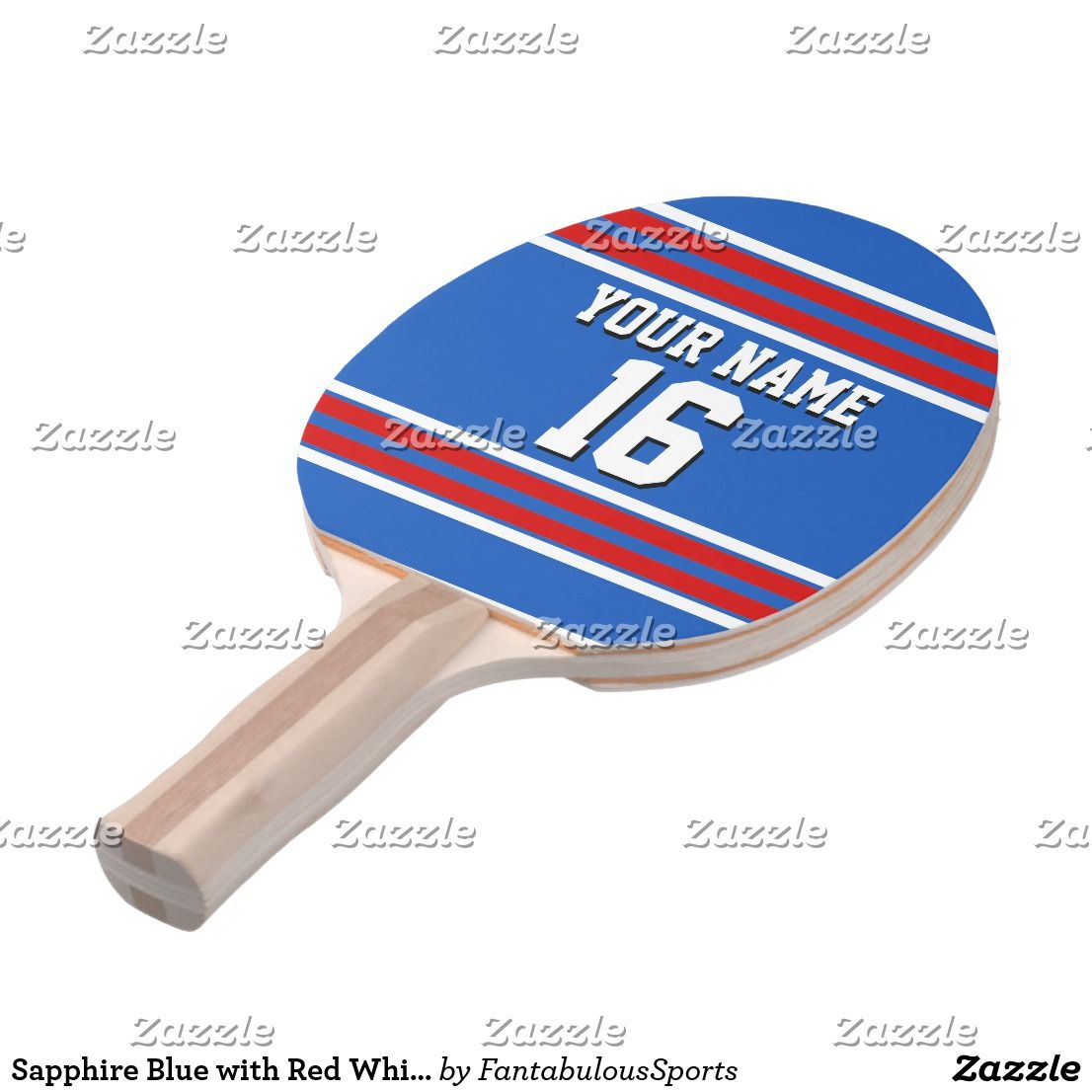Sapphire Blue with Red White Stripes Team Jersey PingPong Paddle by FantabulousSports