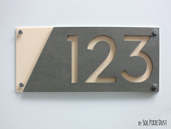 Modern House Numbers Concrete with Beige Acrylic Contemporary