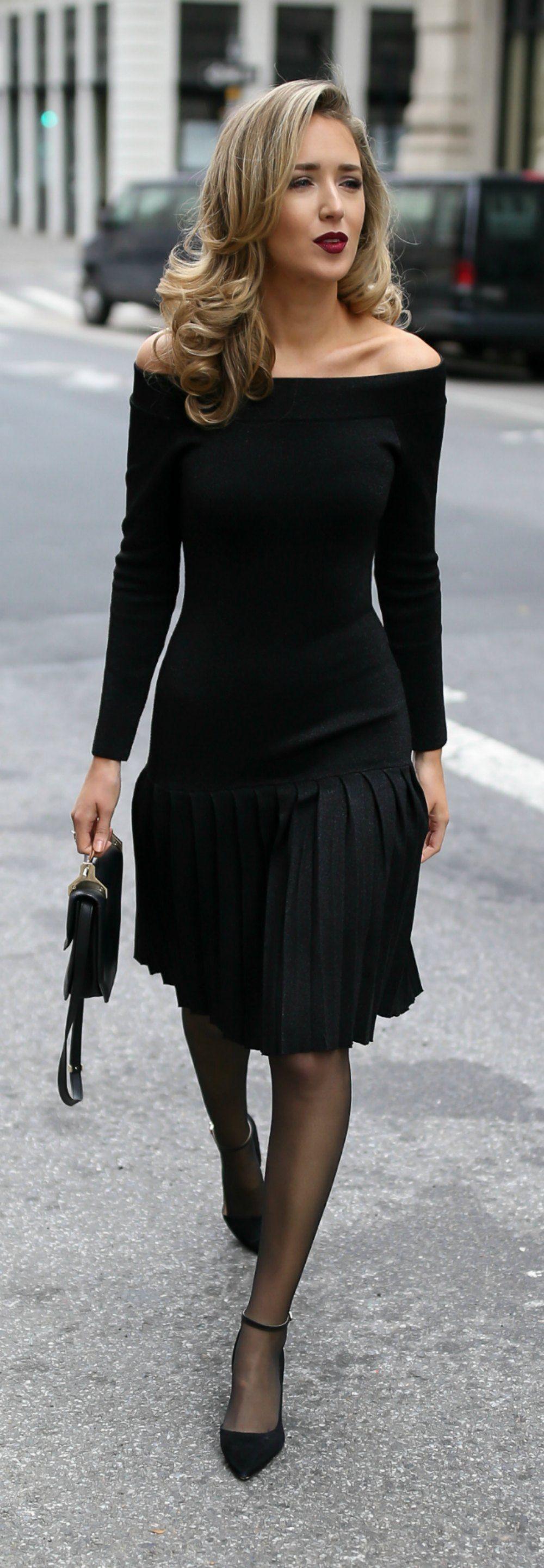 30 Dresses In 30 Days Engagement Party Black Off The Shoulder Pleated Knit Sparkle Dress Black Suede Ankle Str Fashion Black Sparkle Dress Fashion Tights [ 2885 x 1000 Pixel ]