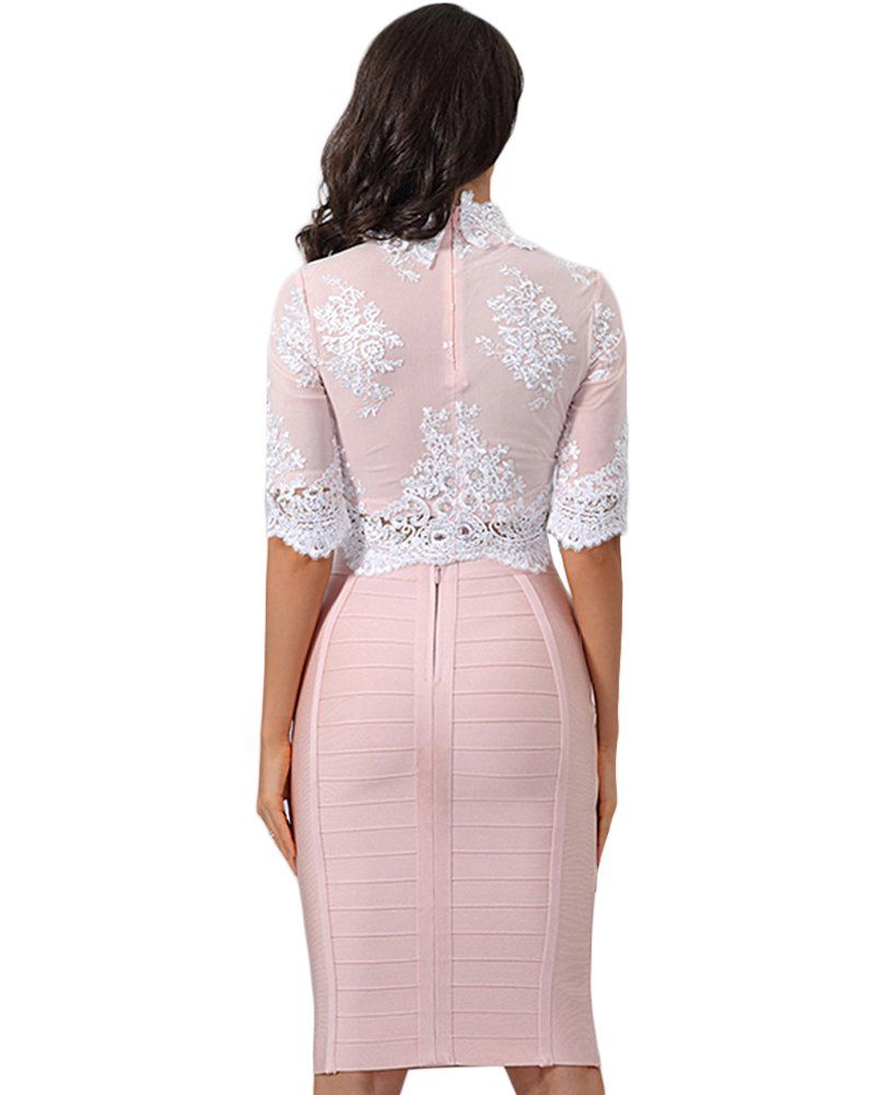 73bc5e3c83 Whoinshop Womens Long Sleeves Crop Top Midi Skirt Outfit Two Pieces  Embellished Bandage Party Dress XS NudePink -- To check out additionally  for this item, ...