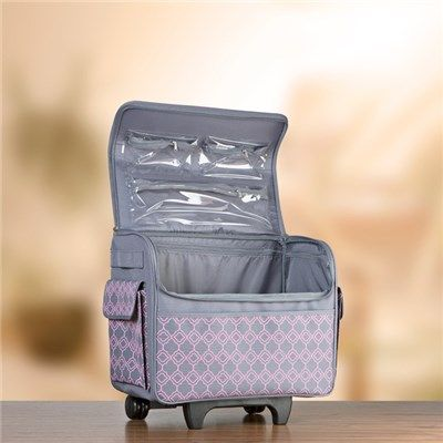 Everything Mary Rolling Storage Tote   Pink And Grey Geo (140120) | Create  And Craft