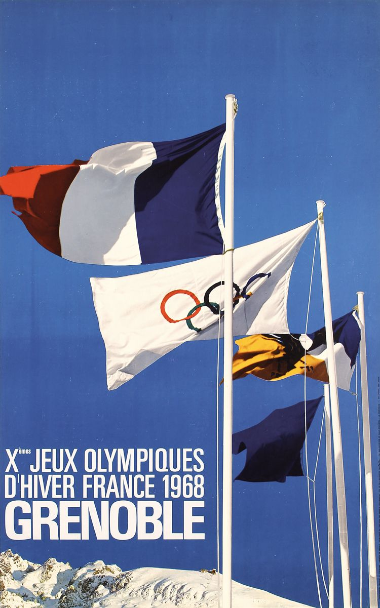 Old Original 1968 Olympic Winter Games Poster Grenoble