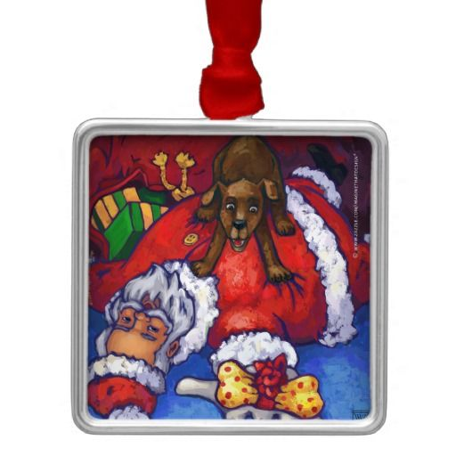 Christmas Wish Santa and Dog Ornament created by Imagine That! Design, art by Traci Van Wagoner. Decorate your home with this fun and colorful art ornament this holiday season.