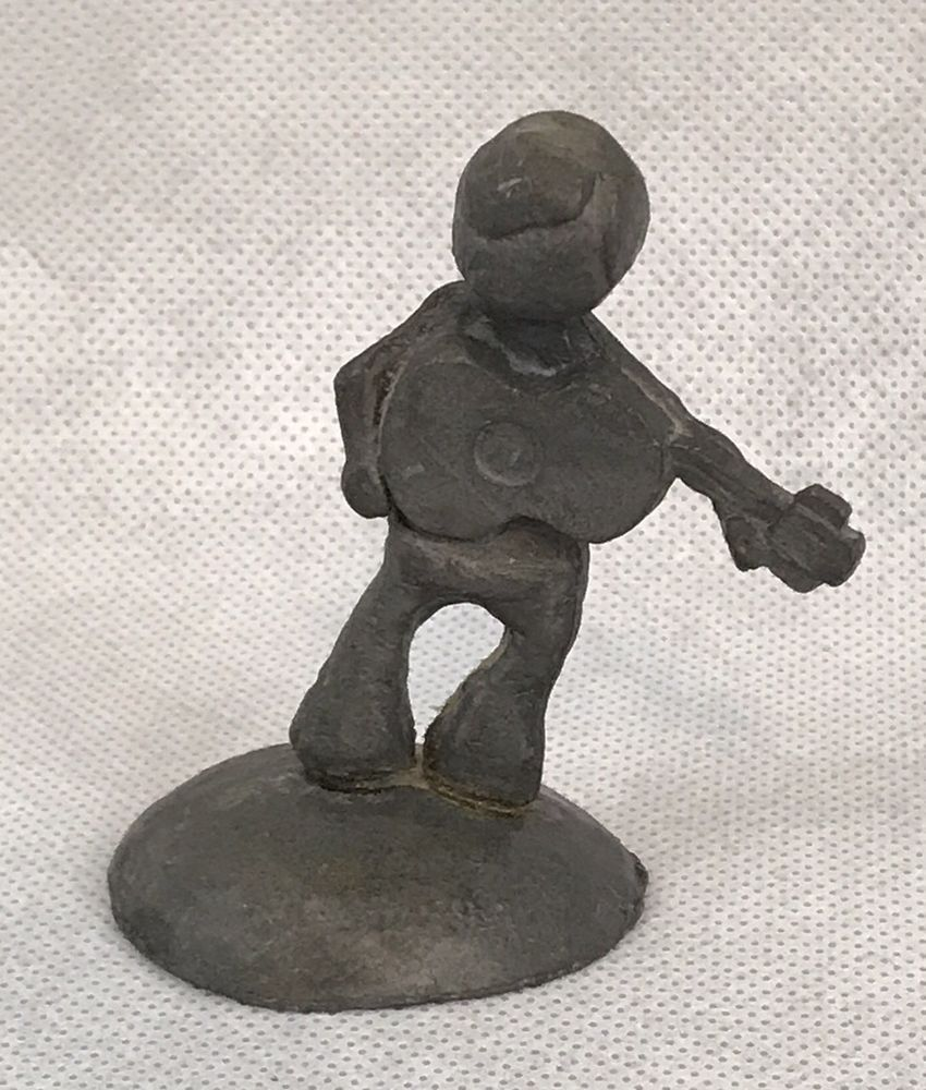 Vintage Pewter People Guy Playing Guitar Signed Figurine
