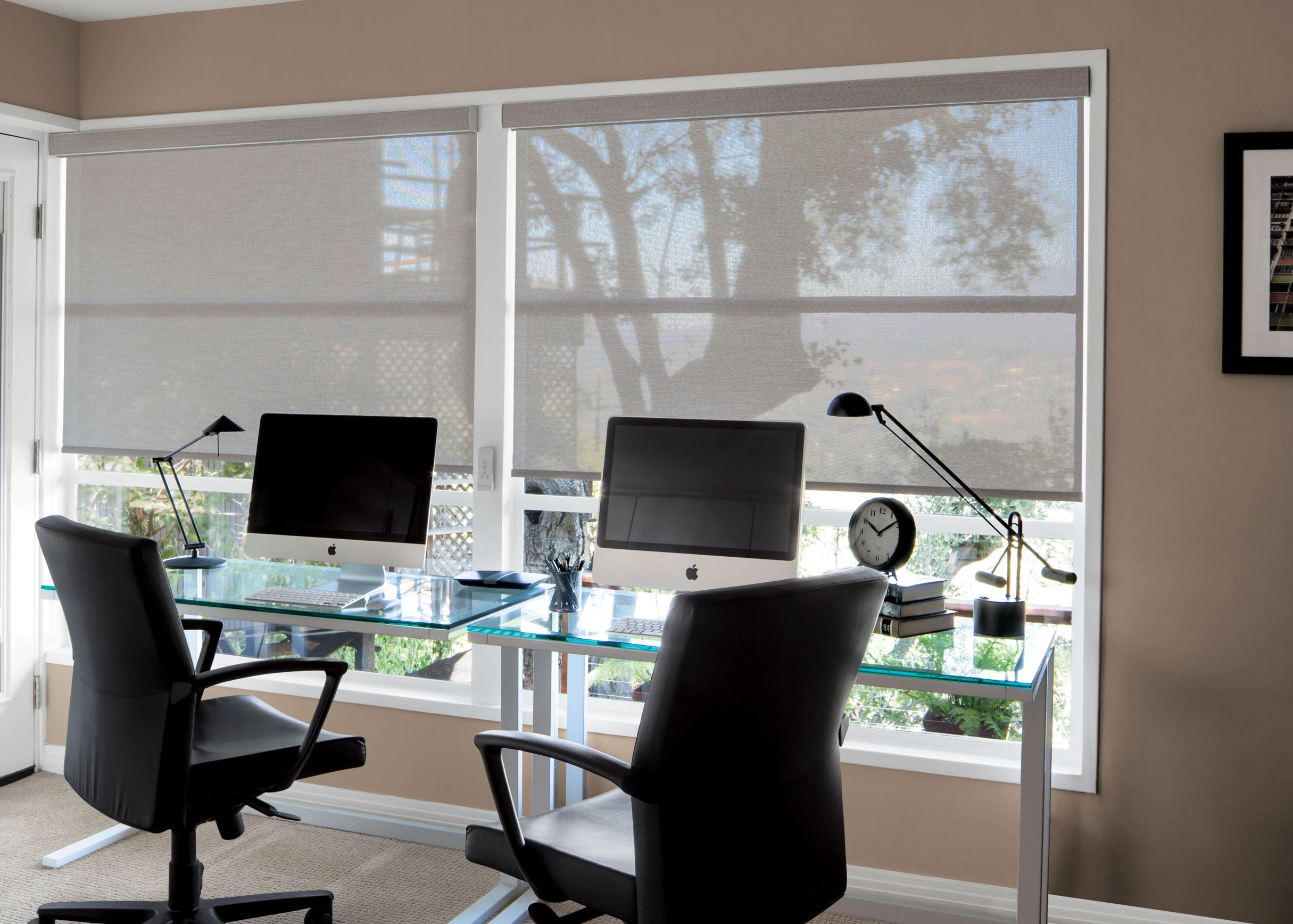 Privacy In Any Office Space Is Important. Solar Shades Provide Privacy  While Adding Color And Sophistication To A Space.