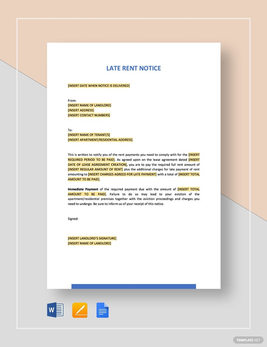 Late Rent Notice Template Free Pdf Word Apple Pages Google Docs Late Rent Notice Professional Reference Letter Reference Letter