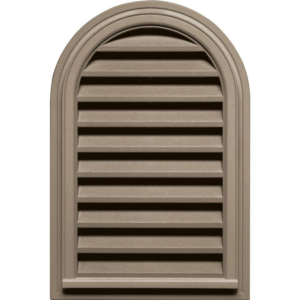 Builders Edge 22 in. x 32 in. Round Top Gable Vent in Clay