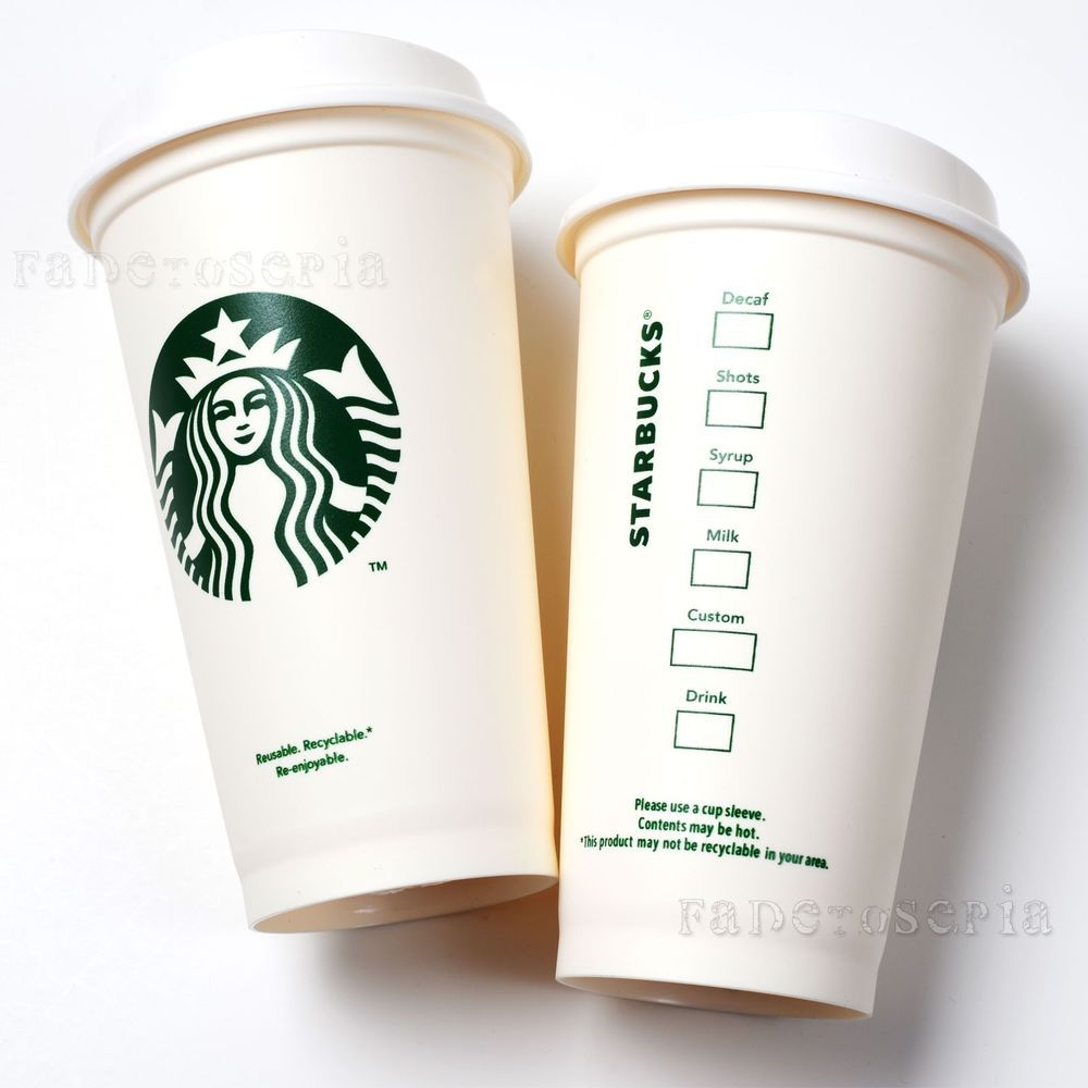 2 NEW STARBUCKS REUSABLE COFFEE CUP PLASTIC 16 OZ TUMBLER MUG GRANDE RECYCLABLE #Starbucks | Mug ...