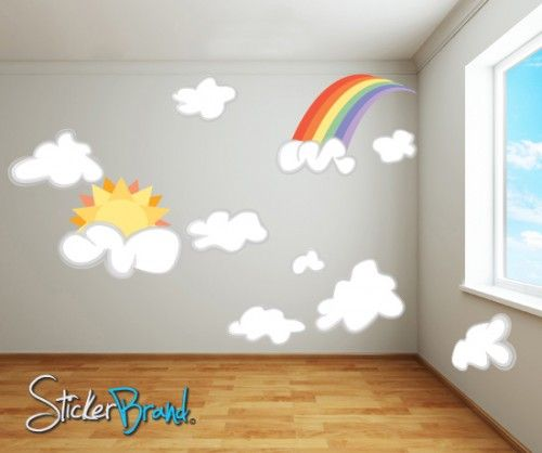 Vinyl wall decal sticker rainbow clouds sun set dcriswell104