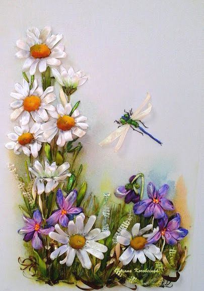 Little Picture Silk Ribbon Embroidery By Tetianakorobeinyk