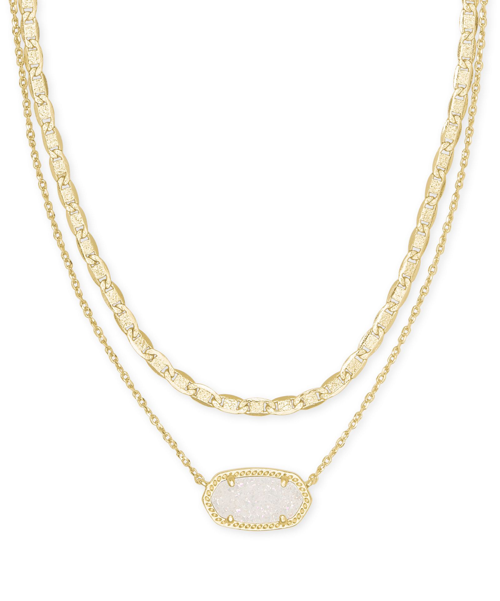 Elisa Gold Multi Strand Necklace in Iridescent Drusy in