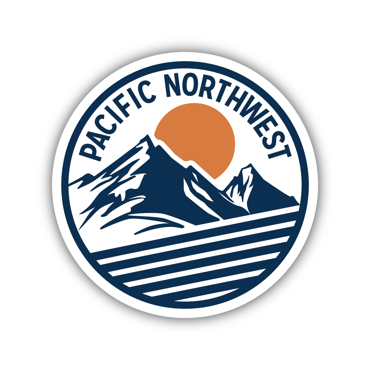 Pnw Mountain Circle Sticker Surf Stickers Outdoor Stickers Funny Laptop Stickers [ 1200 x 1200 Pixel ]