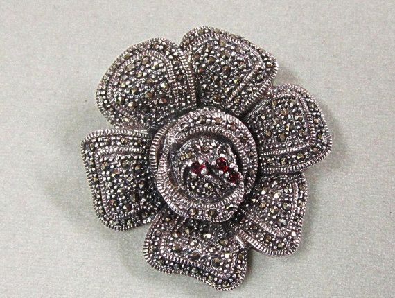 Sterling Silver Marcasite Rose Pin Large and Lovely