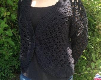 Le donne Crochet Cardigan/Gray Crochet Jacked/uncinetto cotone