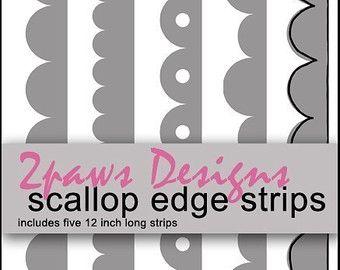 Digital Scallop Edge Strips | DS-Elements | Scalloped edge