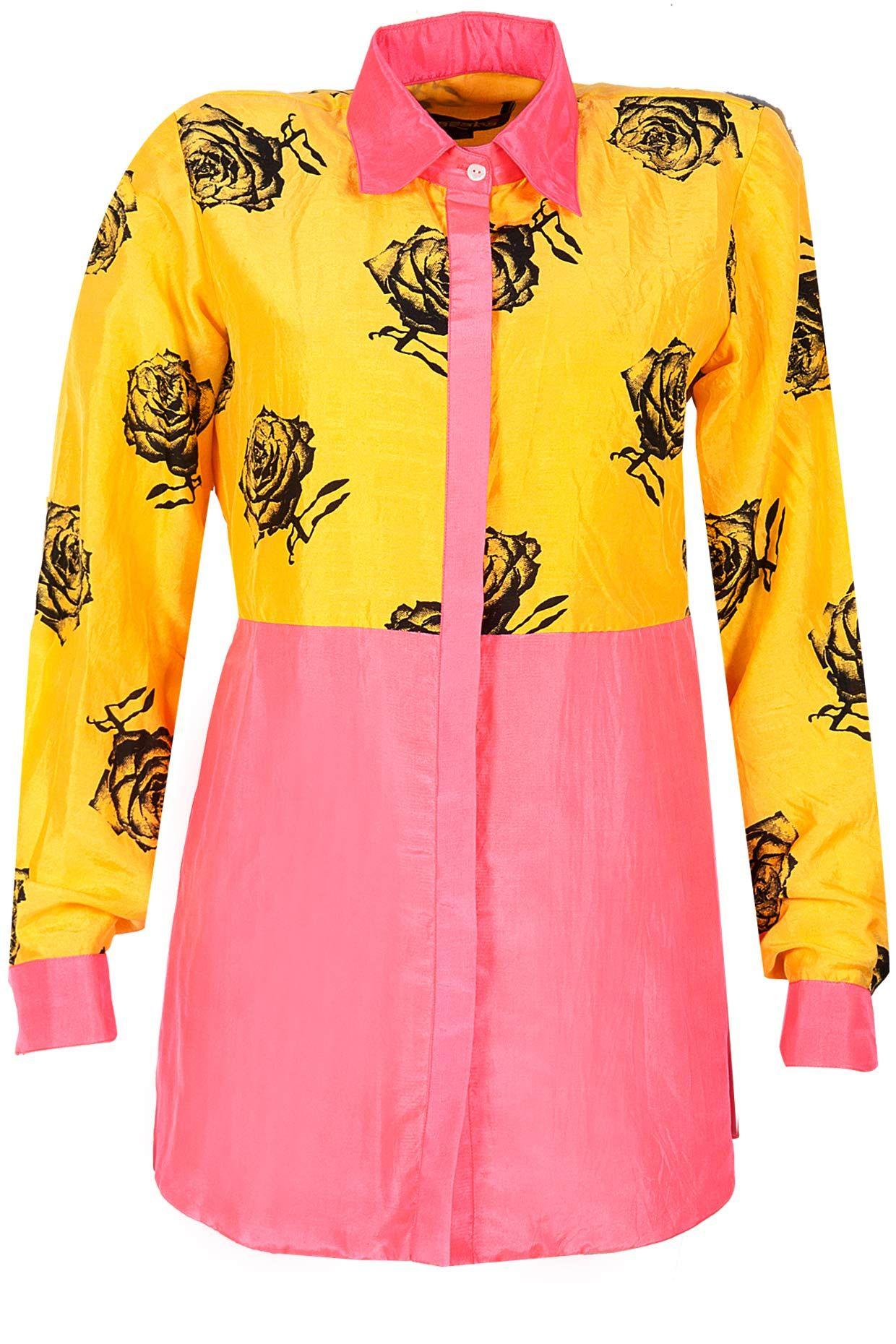 Half and half yellow rose and pink silk shirt BY MASABA Shop now at perniaspopupshop.com #perniaspopupshop #clothes #womensfashion #love #indiandesigner  #MASABA #happyshopping #sexy #chic #fabulous #PerniasPopUpShop #quirky #fun