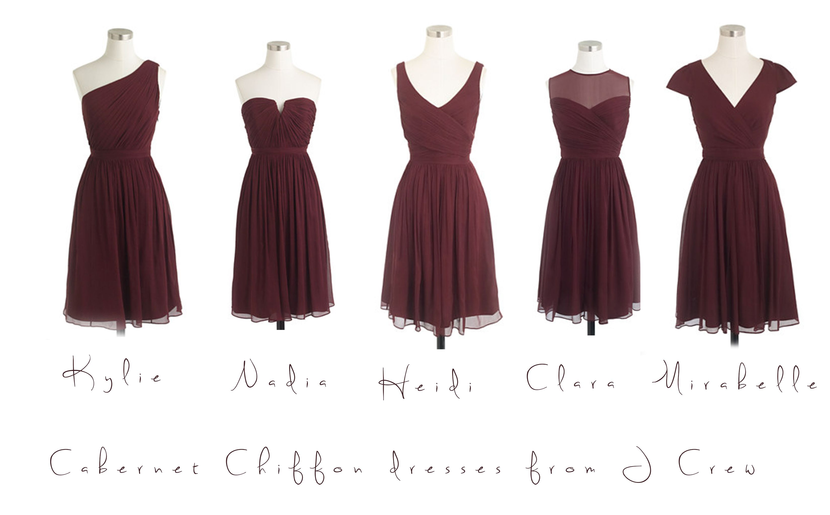 Really love these cabernet chiffon bridesmaids dresses from j crew really love these cabernet chiffon bridesmaids dresses from j crew love the mismatched styles ombrellifo Choice Image