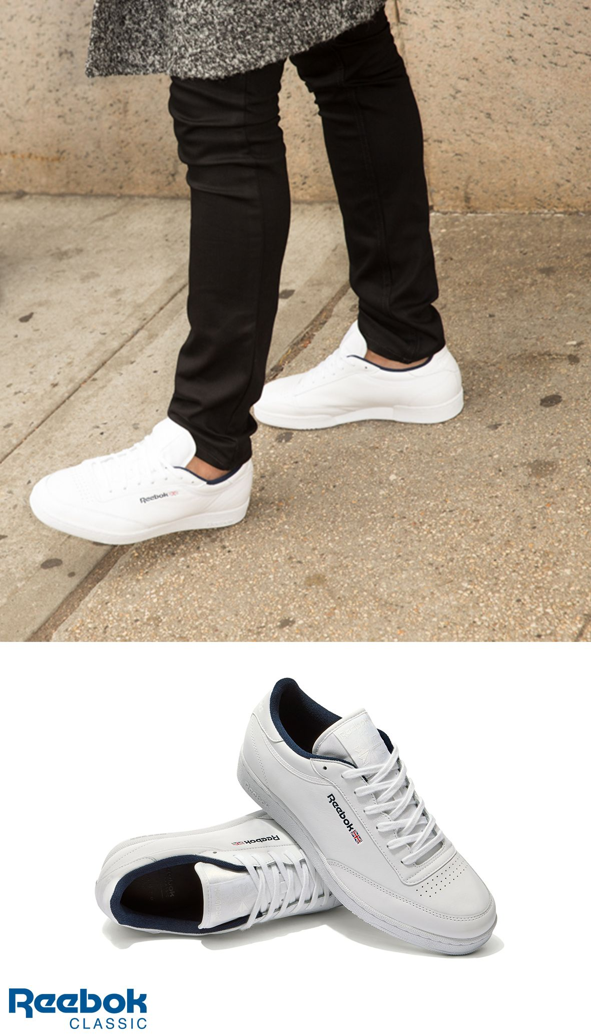 56caf0d9a1d Your new go-to sneaker. The Reebok X Sandro all white Club C men s shoe.