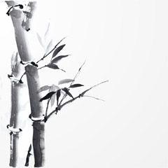 フリーイラスト素材 イラスト 風景 自然 竹 竹林 水墨画 Eps Id
