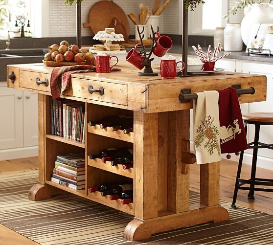 Love This Other Side For Books And Wine Brilliant Chianti Kitchen Island Pottery Barn