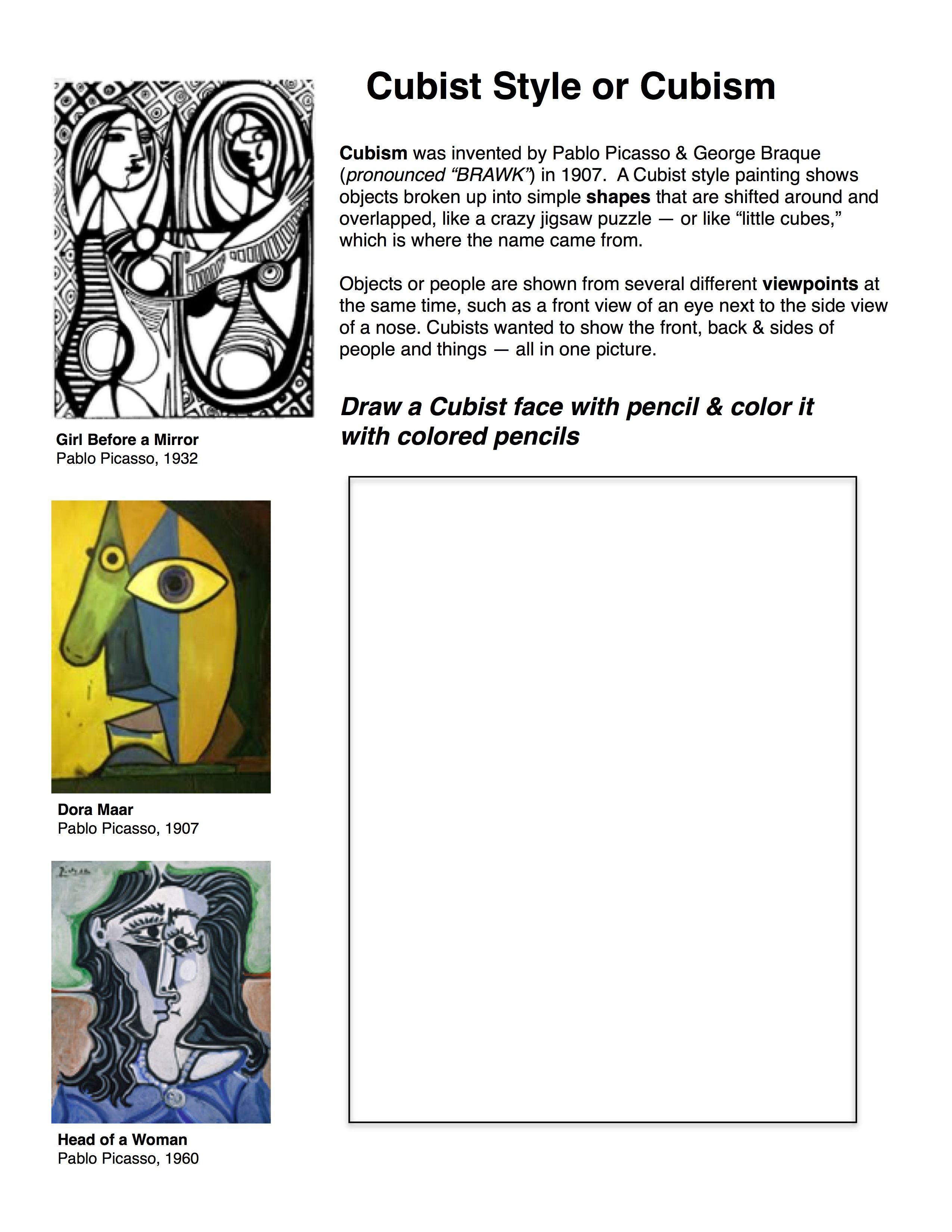 Cubism worksheet | cubism | Pinterest | Kunstunterricht, Kunst ...