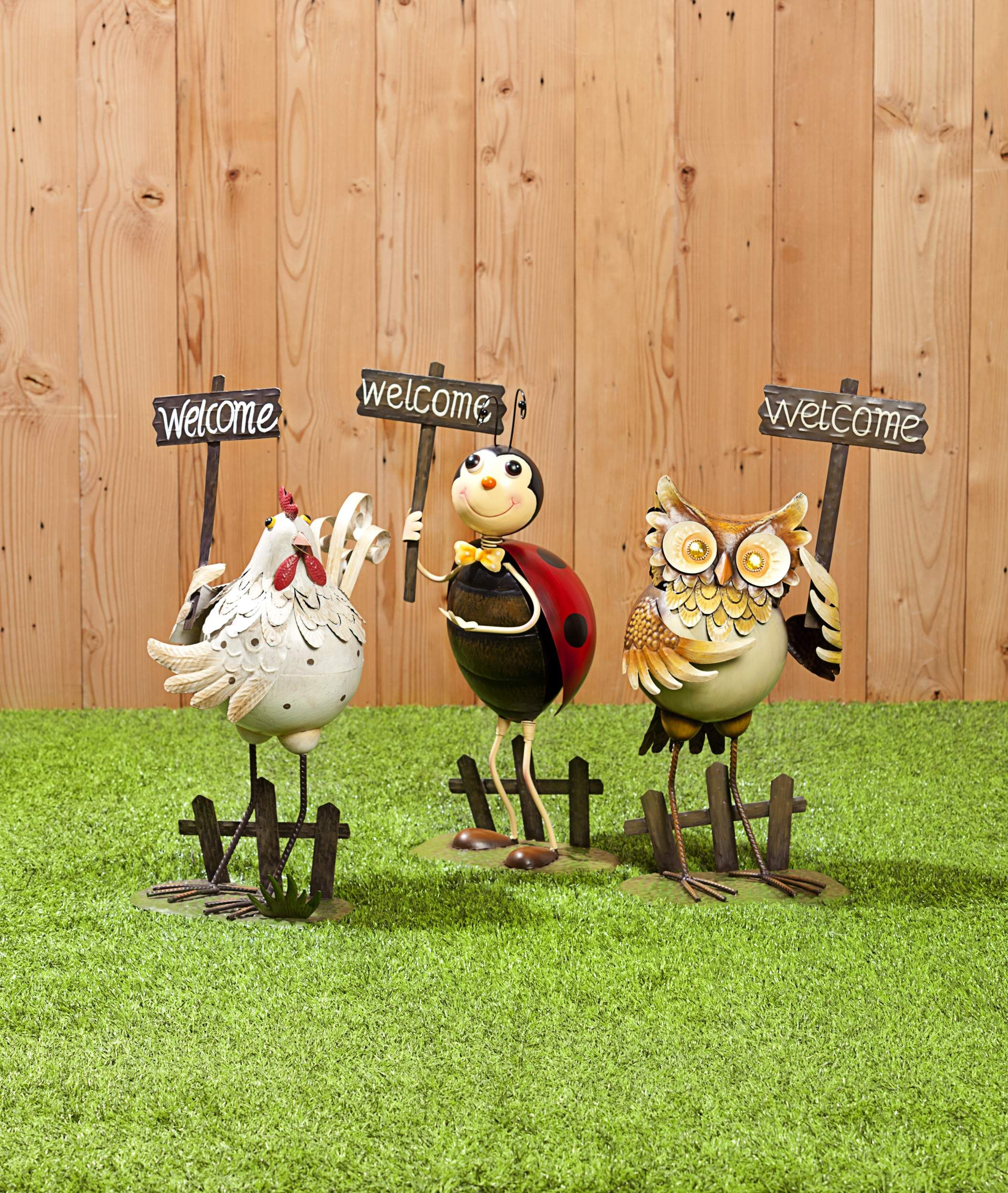 Decorative Metal Garden Figures Chicken, Ladybug and Owls $10 from