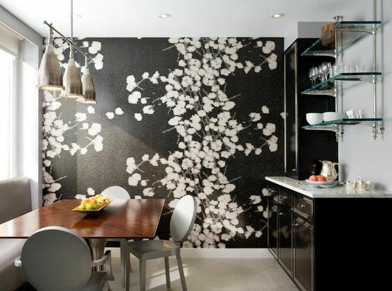 the wallpaper + that buffet/bar! grey ghost chairs ain't to shabby either. #diningroom