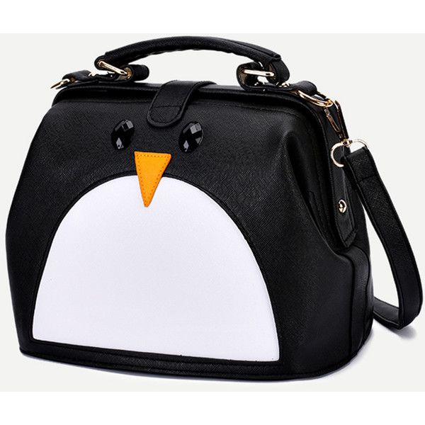 Black Pu Penguin Design Contrast Shoulder Bag 24 Liked On Polyvore Featuring Bags Handbags And