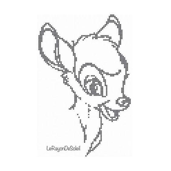 Cross stitch pattern Bambi vintage sketch portrait Disney
