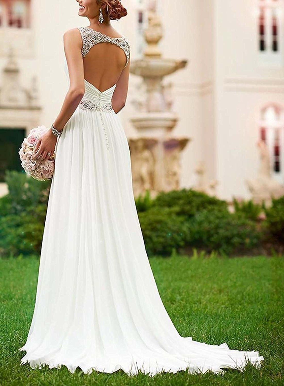Dannifore Ivory Chiffon Beach Wedding Dresses Open Back Bridal Gowns ...
