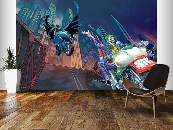Best Dc Comics Batman And The Joker Bike Chase Mural Wallpaper 400 x 300